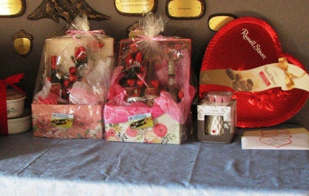 Some of the door prizes and drawing gifts that will be at the Valentines Dinner Feb. 9th