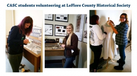 Pictured are several of the CASC students helping at the Historical Society.