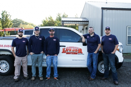 Lowder Brothers employees and KTC HVAC graduates Evan Bean, Jacob Branscum, Jeremy Riggs, Justin Lowder, and Heath Lowder
