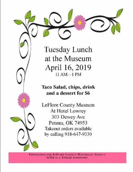 Tuesday Lunch scheduled for April 16