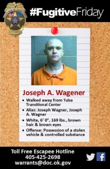 ODOC #FugitiveFriday: Tulsa Transitional Center walkaway Joseph Wagener