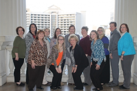 2018 NCCEP GEAR UP Capacity Building Workshop - Members of Eastern's delegation to the 2018 NCCEP/GEAR UP Capacity–Building Conference were: (front row) Helen Scott, Brianna Brassfield, Linda Morgan, Rachael Ranallo, (back row) LaDonna Baldwin, Dara Self, Natalie Kennedy, Tonya White, Tara Martin, Denise Lovell, Shawna Smith, John Spiegel and LaDonna Howell.