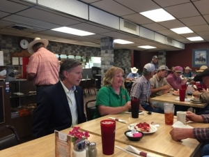 Attorney General Hunter meeting for lunch with victims of the Western Oklahoma wildfires yesterday during his tour of the area.