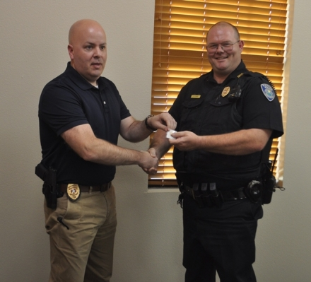 Poteau Police Officer receives 10 Year Service Pin