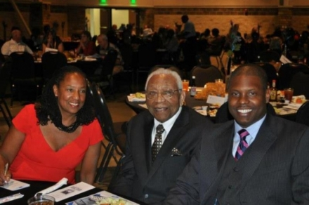 Daughter Mildred Randolph, Dr.John Montgomery and his grandson Kharie Randolph at a banquet in his honor in 2011.