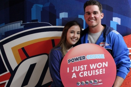 Trevor Barnes and girlfriend after Power Cruise win at the Feb. 15th Thunder game