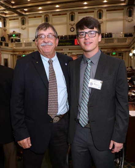 Rep. Rick West, R-Heavener, stands with Poteau High School senior Kaegan Clark. He served as a page for House District 3 the week of March 12-15.
