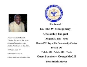 Tickets on sale now for the 8th Dr. John Montgomery Scholarship Banquet, August 24, 2019