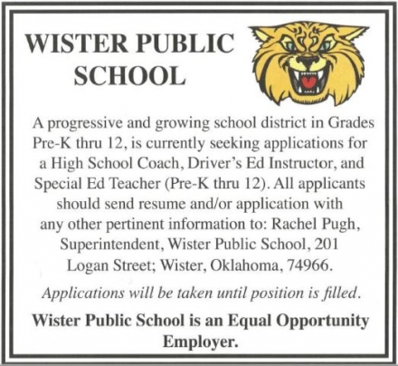 Job Announcement - Wister Public Schools