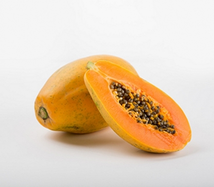 Maradol Papaya: Maradol papayas are a large, oval fruit that weighs 3 or more pounds, with green skins that turn yellow when the fruit is ripe. The flesh inside the fruit is salmon-colored.