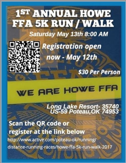 Sign up now for the Howe FFA 5K Walk/ Run