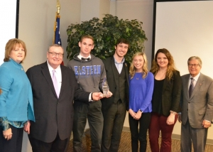 2017 PTK Voter Registration Victory - Representatives of Eastern Oklahoma State College receive an award from Chancellor Glen Johnson (second from left) and State Regents Chair Ronald H. White (far right) at the December State Regents meeting. Pictured are (left to right) EOSC faculty Brenda Kennedy, Chancellor Johnson, EOSC students Stanlee Underwood, Zane Johnson, Miranda Raney, Sophia Bullard and Chairman White.
