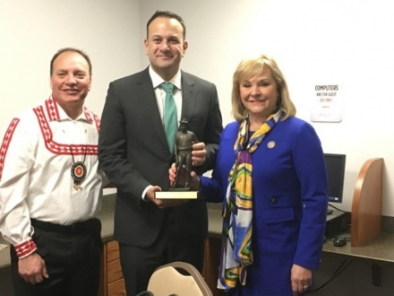 Irish Prime Minister Leo Varadkar holds a statue of Will Rogers presented to him Monday by Governor Mary Fallin.   The presentation was made after the prime minister met with the governor and Choctaw Nation Chief Gary Batton.