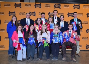 EOSC Livestock Judging Team at ANLS - Members of Eastern's Livestock Judging Teams include (front row, left to right) Braydyn Willyard, Pryor, Okla.; Abby Taylor, Wickes, Ark.; Jessika Calhoon, Farmington, Ark.; Codi Lamb, Seguin, Texas; Rhett Pursley, Locust Grove, Okla.; (back row) Coach Jade Jenkins, Tanner Keiss, Smithville, Okla.; Chyanne Fogg, Springdale, Ark.; Grayson Heath, Aurora, Mo.; Tierra Christian, Ada, Okla.; Garrett Dodd, Calhoon, Ga.; Jarrod Halphen, Tuttle, Okla.; and Kash Allen, Bunch, Okla.