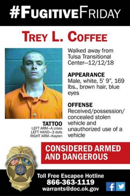 ODOC #FugitiveFriday: Trey L. Coffee