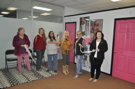 Pictured are: Shirley Wells, Denise Caldwell, Amanda Edwards, Loosy Goosy, Fashion Wells, Karen, CEO- Poteau Chamber and Angela Holmes.