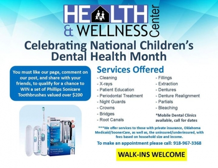 The Health and Wellness Center is celebrating National Children's Dental Heath Month