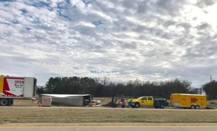Photo of the Day: Semi- Rollover on Poteau By-Pass