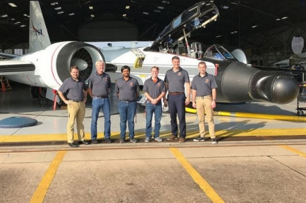 OSU engineering students and faculty at Johnson Space Center in Houston included (from left) Dr. Jamey Jacob, faculty advisor, Jay Estes, NASA mentor, and engineering students Kish Patel, AJ Burba, Aavron Estep, and Michael Raymer.