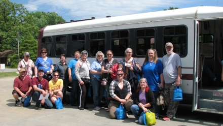 Picture of the group as they departed from the bus after taking the tour on 4-27-19. Lots of nice compliments about the tour and Talihina from this group.
