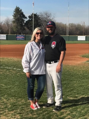 Coach Matt Parker and his wife, Lindsey
