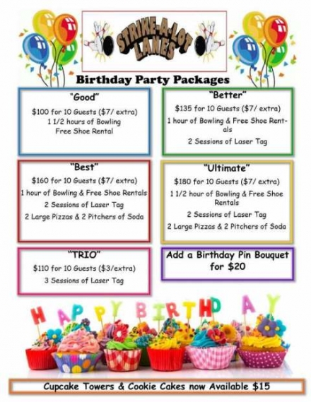 Celebrate your Birthday at Strike A Lot Lanes