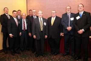 Pictured left to right are Bryan Warner, Dwight Spencer, Randy Graves, Carroll Huggins, Rick West, Lavon Williams, State Regent John Massey, Glen D. Johnson, Ron Lawson, and Jay Falkner.