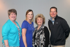 Eastern Oklahoma State College GEAR UP team members attending the 2018 Rural College Access and Success Summit are Education Coordinator Denise Lovell, Education Coordinator Tara Martin, Project Director Linda Morgan, and Professional Development Coordinator John Spiegel.
