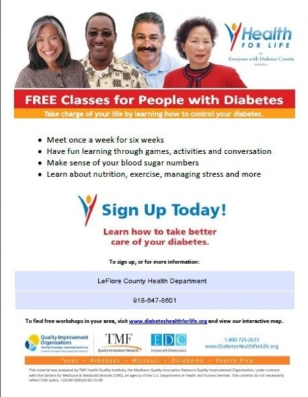 LeFlore County Health Department  offering Free classes for people with Diabetes
